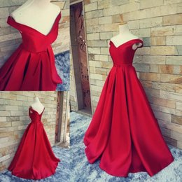Wholesale White Satin Bow Belt - 2016 Hot Red Real Image Long Formal Pageant Prom Dresses With Belt Sexy V Neck Ball Gowns Off Shoulders Lace Up Vintage Party Evening Gowns