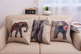 Wholesale Knitted Car Seat Covers - Floral Elephant Printed Linen Cushion Cover For Sofa Throw Pillow Case Chair Car Seat Pillowcases free shipping #536