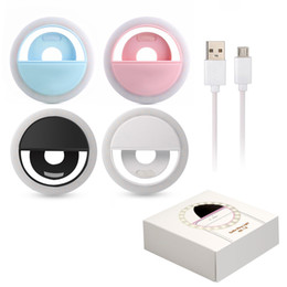 Wholesale Luminous Led - Rechargeable Universal Luxury Smart Phone LED Flash Light Up Selfie Luminous Phone Ring For iPhone for Android With USB Charging