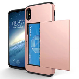 Wholesale Iphone Layer - Hybrid 2 in 1 Slide Card Slot Case Dual Layer Shockproof Protector Cases Cover For iPhone X 8 7 6 6s Plus 5 5s Sumaung Note8 S8