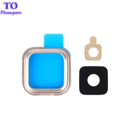 Wholesale camera lens for s4 - 50pcs Back Rear Camera Holder Frame with Glass Lens Cover Ring and Sticker Glue for Samsung Galaxy S4 S5 i9600 S6 EDGE