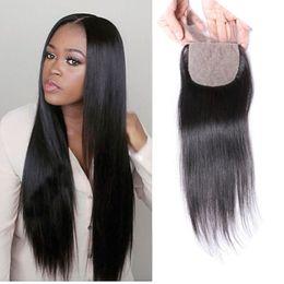 Wholesale Cheap Silk Based Closures - Cheap Silk Base Closure Straight Brazilian Human Hair Closure 4x4 Silk Top Lace Closures With Baby Hair 3 Middle