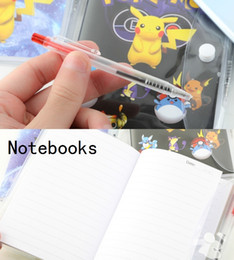 Wholesale Cartoon Notebook Paper - 3 Size Cartoon Poke Pikachu Notebook With A Ballpoint Pen Diary Planner Poke Stationery School Office Supply 100pcs B0548