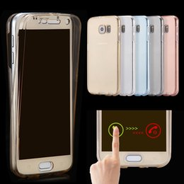 Wholesale Case Touch Screen Galaxy S3 - 360 Degree Full Coverage Case For Samsung Galaxy S3 S4 S5 S6 Edge S7 S7Edge Note 3 4 5 Smart Touch Screen + Back Clear Transparent Cover
