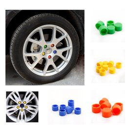 Wholesale Car Wheel Lug Nuts - 20Pcs 17mm Silicone Auto Motorcycle Car Wheel Nut Cover Lug Nut Caps Bolt Car Styling Interior Covers Replacement