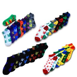 Wholesale Couple Pairs - Free shipping unisex Leaf Socks skateboard sports Hip-Hop Couple short boat Socks for men and women 120 pairs lot
