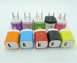 Wholesale Candy Wall - Candy Colorful US Plug USB Power Wall Home Travel Charger Adapter For iPhone 8 7 6 6Plus 5 5S 4 4S samsung huwei xiaomi Smartphone 100pcs