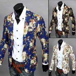 Wholesale Casual Costumes For Men - Wholesale- Men Floral Casual Slim Blazers 2017 New Arrival Fashion Party Single Breasted Men Suit Jacket Stage Costumes For Singers