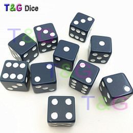 Wholesale G Dots - 10pcs set T&G High Quality 12mm Navy Blue Square corners Dice Set with White Dots dungeon and dragon juegos de mesa Novelty Dice