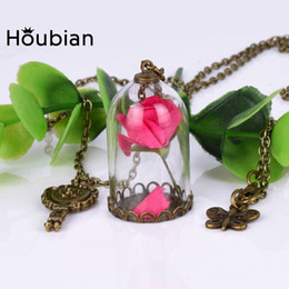 Wholesale Gold Plated Glass Vials - Wholesale- Houbian 24 Pc lot Retro Crystal Glass Vial Necklace Little Prince Rose Necklaces Natural Dried Flowers Pendants Mirror Bottle