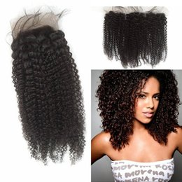 Wholesale Swiss Lace Frontals - Indian Afro Kinky Curly Lace Frontal Closure 13x4 Swiss Lace Frontals 130% Density Human Hair Can be Dyed FDSHINE