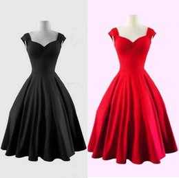 Wholesale Black Rockabilly Plus Size Dress - Audrey Hepburn Style 1950s 60s Vintage Pure Color Women Casual Dresses Inspired Rockabilly Swing Evening Party Dresses for Women Plus Size
