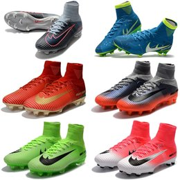 Wholesale High Boots For Kids - Newairl kids soccer shoes for boys mercurial superfly fg cr7 sock boots football womens mens high tops ronaldo ankle indoor soccer cleats