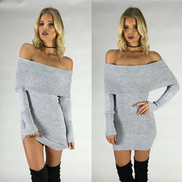 Wholesale Grey Black Sweater Dress - Women Long Knit Sweater Dress Classic Pullover Off the Shoulder Over Hip Sweaters Sexy Tight T Shirt Fall Winter Grey Black and White