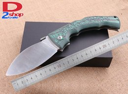 Wholesale grinding dog - Samior COLD STEEL BIG Head Dog Leg Dogleg Satin Grind Flat Folding Blade Mikata Green Handle Tactical Outdoor Xmas Gift KNife KNives