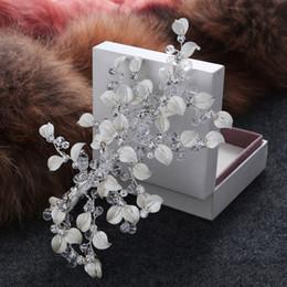 Wholesale Hair Clip Handmade - beijia New Fashion White Leaf Bridal Tiara Silver Wedding Crystal Hair Clip Comb Handmade Headpiece