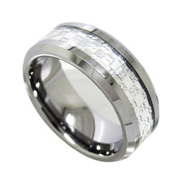 Wholesale Tungsten Carbide Men - 8mm High Polish Tungsten Carbide Ring Silver Inlaied fashion jewelry finger ring for men