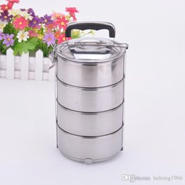 Wholesale Wholesale White Round Boxes - Sturdy Stainless Steel Lunchboxes With Lock Buckle Keep Fresh Food Jars Anti Wear Easy To Clean Bento Box For Picnic 9js J R
