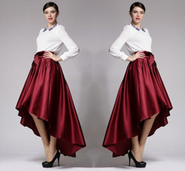 Wholesale Taffeta Beige Gown - Burgundy Taffeta High Low Skirts 2017 New Fashion Lady Skirt Dark Red Autumn Winter Women Skirts Cheap Formal Party Gowns