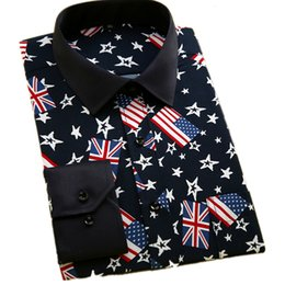 Wholesale Boys Designer Shirts - Wholesale-Fashion Print Flag Boys Men Casual Shirt 100% Polyester Fiber Designer Turn Down Collar Long Sleeve Male Shirts Plus Size 4XL