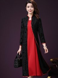 Wholesale Long Sleeved Cheongsam - 2017 autumn new suit female cardigan two-piece long-sleeved middle-aged improved cheongsam dress in long section knee