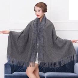Wholesale Real Fur Collar Sale - Factory Sale 2017 Fashion Multifunction Magic Lady Winter Shawls Scarf with Real Genuine Rabbit Fur Collar Pashmina Stole Gifts