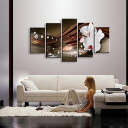 Wholesale Large Wall Pictures For Sale - Flower oil painting on canvas Handmade Home Decoration Art Picture modern Floral Paintings For Sale Large 5 Panels Wall Painting
