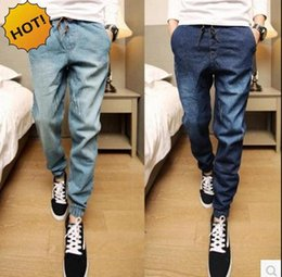 Wholesale man harem jeans - Fashion 2016 Teenagers Leg Foot Slim Fit Denim Jeans Men Drawstring Ankle Banded Pants Boys Hip Hop Harem Pants 28-34 Bottoms