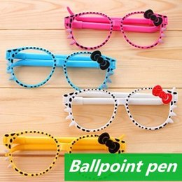 Wholesale Bulk Stationery - 60 pcs Lot Sunglass ballpoint pens Kawaii Stationery bulk glass ballpen Caneta gift Office accessories school supplies