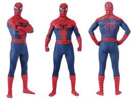Wholesale Body Suit Costume Kids - (LP08102)Super Quality Unisex Adult Kids Full Body Navy Blue Lycra Spandex Superhero Spiderman Zentai Suits Halloween Costume