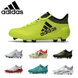 Wholesale Blue Springs Soccer - Wholesale Adidas Originals X 17.1 FG Size Champagne 2018 Soccer Shoes Ace 17.1 Mens Football Boots White Gold Blue Football Shoes