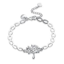 Wholesale Pendant Flower Life - Fashion Tree of Life Charms Bracelet 925 Link Chain Silver Colour Life Tree Leaf Pendant Bangle Bracelet Gift Ladies Jewelry