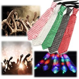 Wholesale Sequin Neck Ties - New Fashion Light Up LED Luminous Sequin Neck Ties Changeable Colors Necktie Led Fiber Tie Flashing Tie For women man free shipping