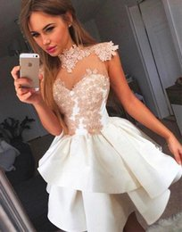 Wholesale Sweetheart Lace Layered - 2018 Illusion High Neck A Line Homecoming Dress Tulle Lace Applique Layered Short Prom Party Cocktail Dresses