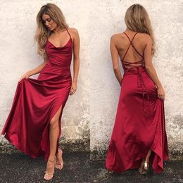 Wholesale Club Dress Back Cross - 2018 Sexy Red Spaghetti Straps Satin A Line Prom Dresses Cross Back Floor Length Party Club Evening Dresses BA7054