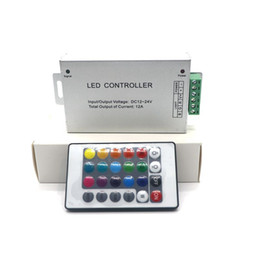 Wholesale Remote Controlled Led Strips - Edison2011 Brand New 12A DC12-24V RF Wireless 24keys Led RGB Remote Controller For RGB LED Strip   Module Lights