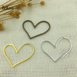 Wholesale Jewelry Making Metal Heart Charms - BoYuTe 20Pcs 3 Color 32*26MM Metal Brass Bronze Silver Heart Pendant Charms for Jewelry Making Diy Accessories