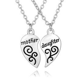 Wholesale Mother Daughter Jewelry Pendants - 2017 Mother Daughter Silver Plated Necklace Silver Heart Love Mom Necklaces & Pendants For Women Jewelry Collier Femme mother's day gift 5