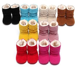 Wholesale Suede Baby Boots - Newest Winter 3 Layer Tassels Baby Moccasins Fleece Suede Leather Fringed Boots Infant Toddler Soft Bottom Thick Cotton Boots