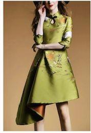 Wholesale Cheongsam Dress Woman - 2016 New Fashion Cheongsam Retro European Style Woman Jacquard Sleeve Irregular Printing Flower Elegant Cheongsam Dress