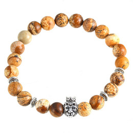 Wholesale Crown Picture - European style fashion crown lion head bracelet bracelets natural picture stone bead bracelet jewelry spring and summer must-Lovers