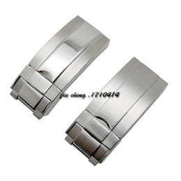 Wholesale Cm Tags - 16mm x 9mm NEW High Quality Stainless steel Watch Bands strap Buckle Deployment Clasp FOR ROL bands