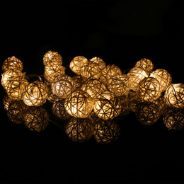 Wholesale Led Lights For Christmas Lanterns - 2M 20 Bulbs Plug-in Rattan Lights Sepak Takraw Ball String Lights Takraw Lantern Night Lights Fairy String Lights for Christmas Party