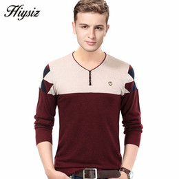 Wholesale Oem S - Wholesale-Free Shipping 2016 Autumn Winter New Fashion Button V-Neck Sweater Men Cashmere Wool Pullover Men Hit Color Pull Homme OEM 66152
