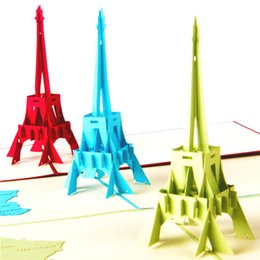Wholesale Origami 3d Cards - New arrival La Tour Eiffel Tower Handmade Creative Kirigami & Origami 3D Pop UP Greeting & Gift Cards