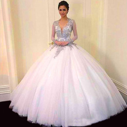 Wholesale Dres Beads Sequins - Custom Made Applique Sequines Floor Length Strapless Prom Party Gowns V Neck Quinceanera Dresses Backless Long Sleeves Beads Evening Dres