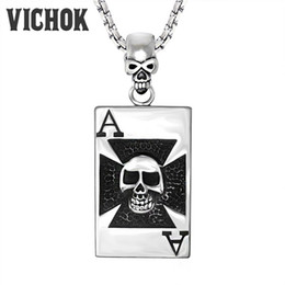 Wholesale Head Play - 316L Stainless Steel Pendants&Necklaces Skull Head Playing Cards A Design Necklace For Women Men Party Halloween Easter Gift VICHOK