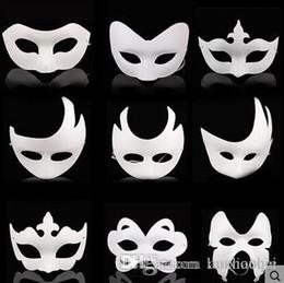 Wholesale White Jester Mask - Wholesale White Unpainted Face Mask Plain Blank Version Paper Pulp Mask DIY Masquerade Masque Mask