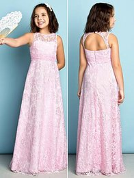 Wholesale Cheap Dresses For Junior Girls - Lovely Pink Lace Junior Bridesmaid Dresses 2016 Jewel Neck Backless Floor-length Flower Girls Gowns for Weddings Custom Made Cheap A Line