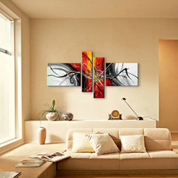 Wholesale Black Red Modern Abstract - Hand Painted Abstract Oil Paintings On Canvas Red Black White Modern Oil Painting Set Home Decoration Wall Art For Living Roon